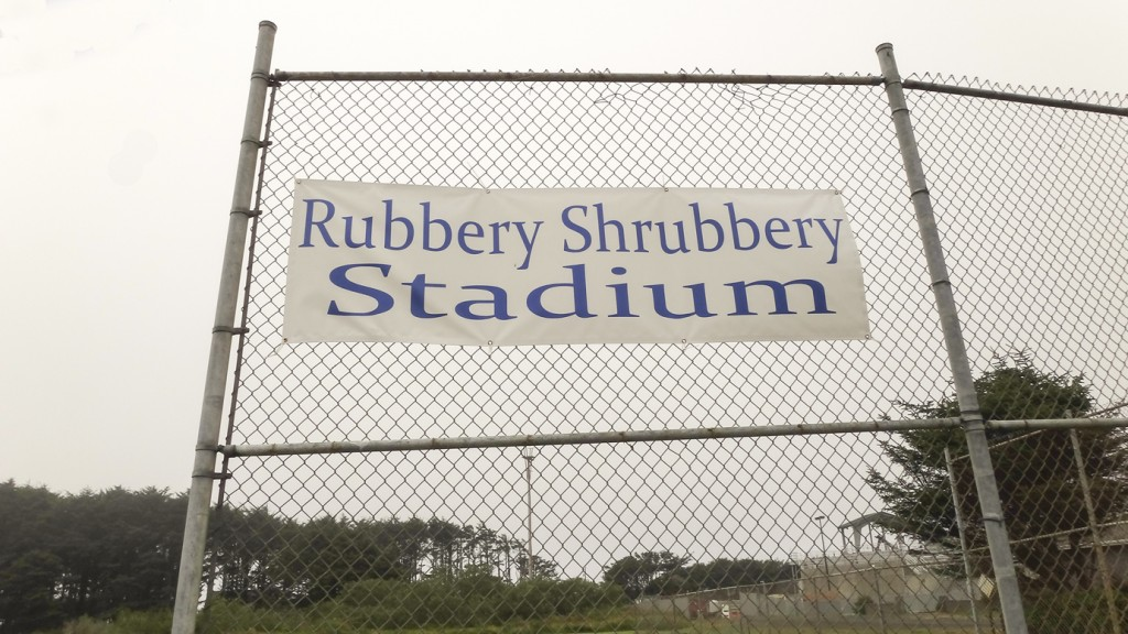 Figure 2. The new banner at Rubbery Shrubbery Stadium in downtown Yachats.**